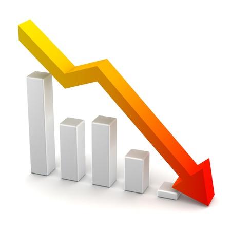 perdidas y ganancias: Tabla de p�rdidas de beneficio Bares y Flecha hacia abajo Foto de archivo