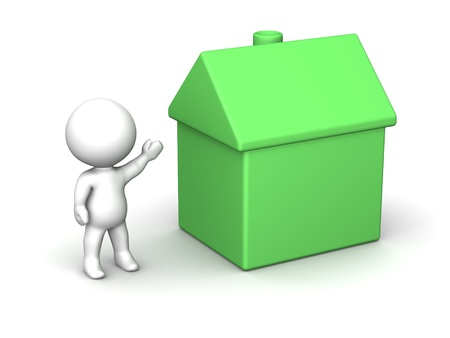 3D Man Presenting Small Green House Stock Photo