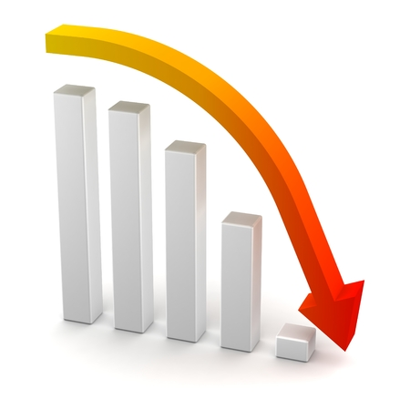 perdidas y ganancias: De p�rdidas y ganancias barras del gr�fico y curvas Flecha abajo