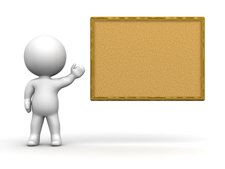 3D Man Presenting Cork Board photo