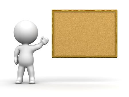 cork board: 3D Man Presenting Cork Board