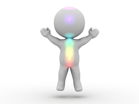A 3D man levitating, and with visible luminous Chakra points on his body Stock Photo