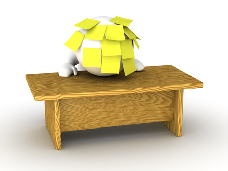 A 3D guy is stressed - standing with his head on his desk, covered with sticky notes