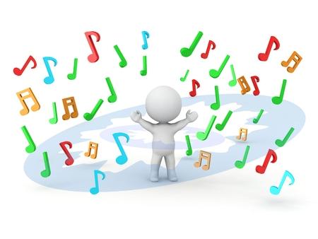 simbolos musicales: Un hombre 3D con una explosi�n de notas musicales a su alrededor
