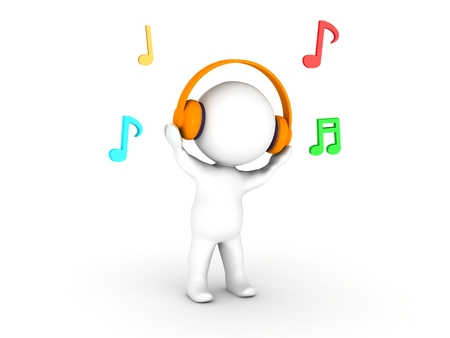 A 3d man wearing headphones with musical notes around him 版權商用圖片 - 22352493