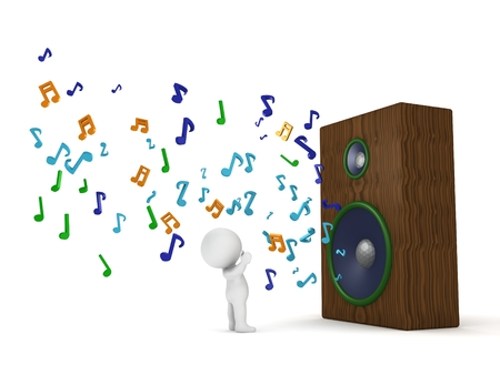 loud speaker: A 3d man listening to a huge loud speaker with musical notes flowing out of it