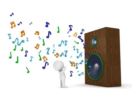 simbolos musicales: Un hombre 3d que escucha a un gran altavoz con notas musicales que salen de ella