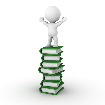 A 3d man standing with his arms raised, on top of a large stack of books