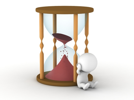 A 3d man upset that all the sand is running out from the hourglass photo