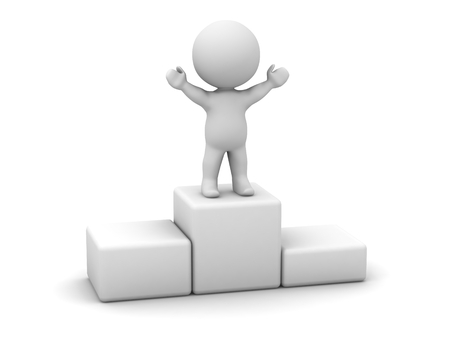 3D Man Standing on Top of Podium Stock Photo