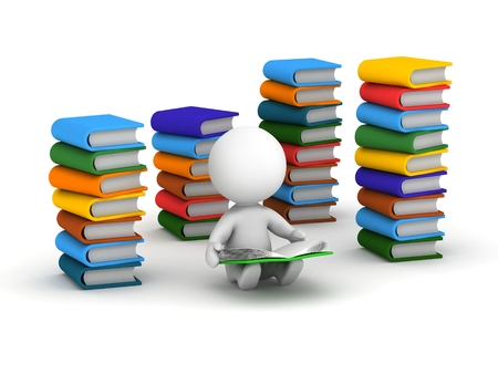 A 3d man reading a book, and surrounded by stacks of books