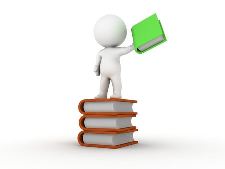 A 3D man standing on a stack of books, holding a green book Stock Photo