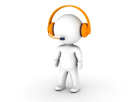 A 3D man wearing headphones with microphone Stock Photo