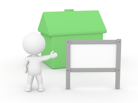 A 3d man showing a blank sign in front of a small green house Stock Photo