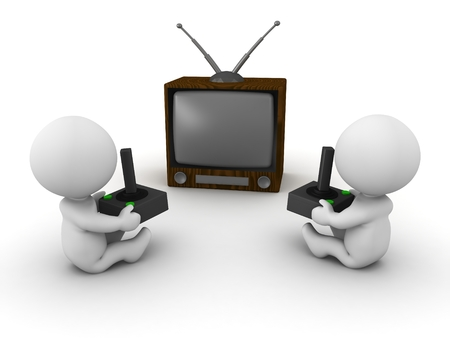 Two 3D guys playing video games on a retro tv
