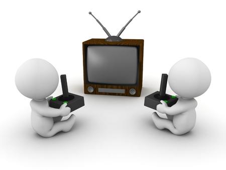 Zwei 3D-Jungs spielen Videospiele auf einem Retro-tv