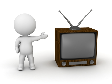A 3D man showing a retro television set Stock Photo