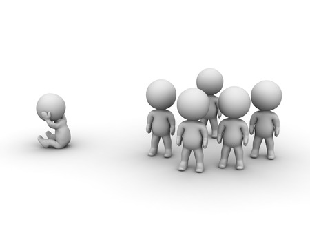 shyness: A 3D man sitting holding his head, isolated from the group