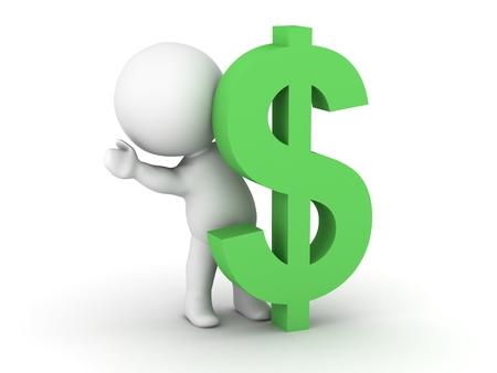 A 3D man waving from behind a dollar symbol