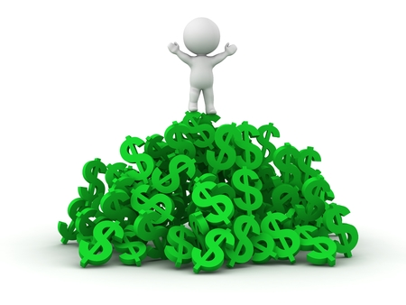 A 3D man standing on top of a pile of dollar symbols