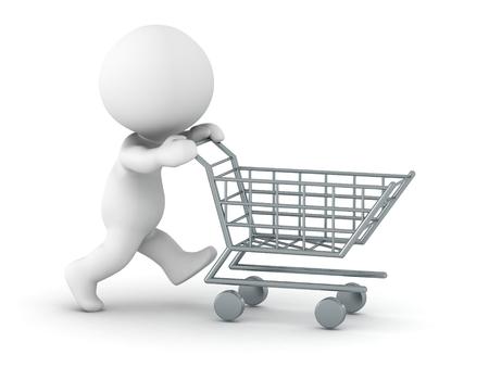 empujando: Hombre 3D empujando el carrito de la compra