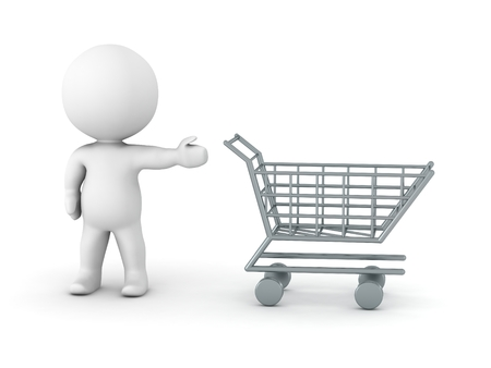 3D man showing shopping cart photo