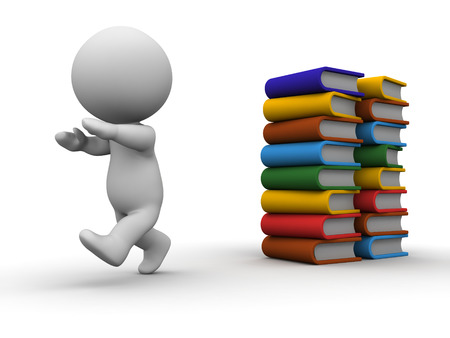 A 3D guy running away from a stack of books