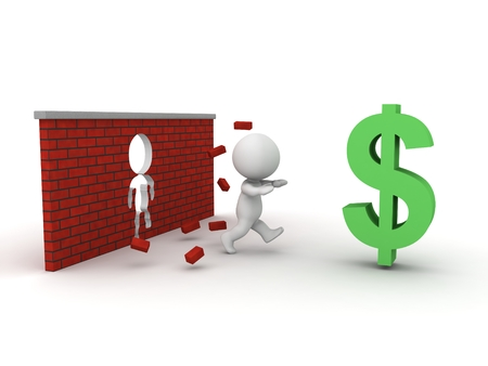financial obstacle: A 3D guy running through a brick wall to get to a large dollar symbol