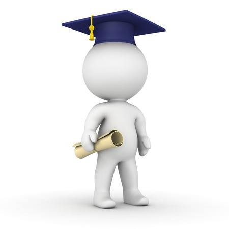 Ein 3D Kerl mit einer Graduierung Kappe und Diplom