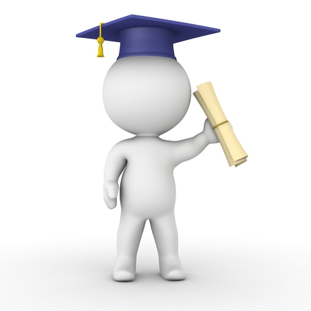 A 3d guy with a graduation cap and holding a diploma