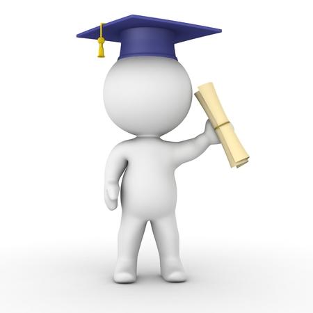 Ein 3D Kerl mit einer Abschlusskappe und h�lt ein Diplom
