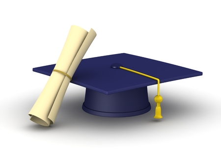 A Blue Graduation Cap And Rolled Up Diploma Isolated On White Stock Photo