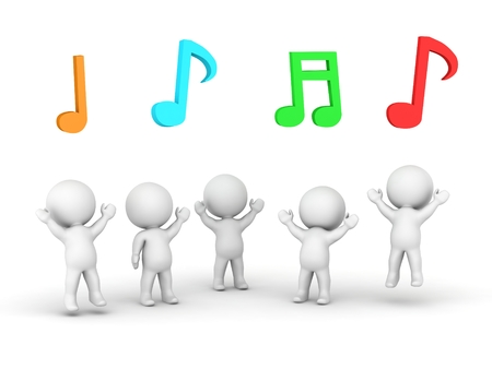 simbolos musicales: Chicos 3d saltando y coloridos s�mbolos musicales por encima de ellos