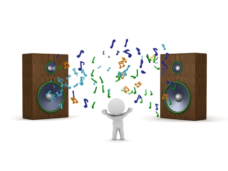 A 3d guy and two huge speakers with musical symbols