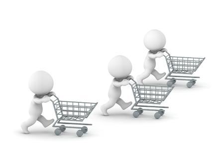 super market: Three 3d guys pushing shopping carts Stock Photo