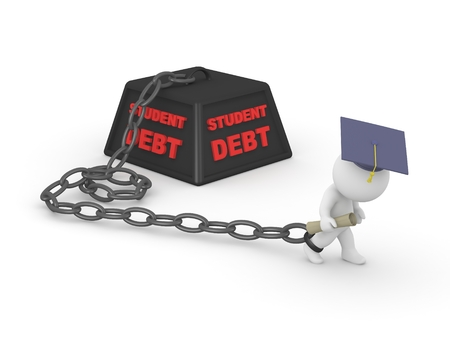 A 3d guy graduated with diploma and graduation hat, but has a heavy student debt loan 版權商用圖片