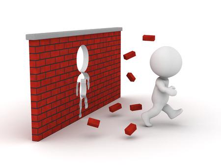 3 D 男はれんが造りの壁を介して実行し、人間の形をした穴を作った