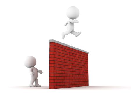 Ein 3D Kerl springt �ber eine hohe Mauer, und ein anderer Mann schaut ihn dabei den Sprung
