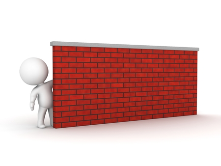 A 3d guy leaning and looking from behind a brick wall