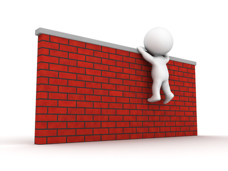 A 3D guy trying to climb a brick wall