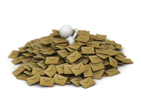 A 3D guy covered in a pile of emails, holding one arm up Stok Fotoğraf