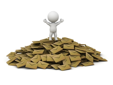 overwhelm: A 3D guy standing with his arms up on top of a pile of emails Stock Photo