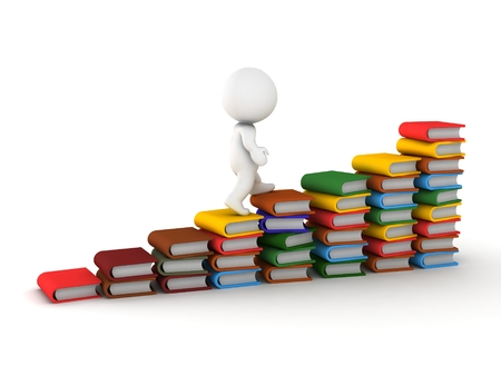 A 3D guy climbing on stacks of books arranged like stairs Stock Photo