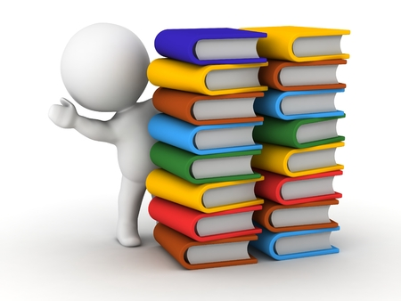 A 3D guy leaning and waving from behind some stacks of colorful books