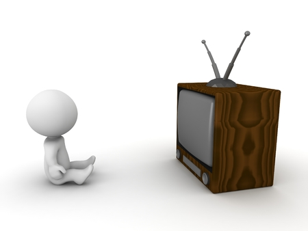 A 3D guy sitting in front of a retro TV