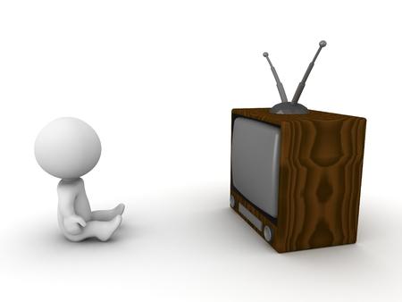 Ein 3D Mann sitzt vor einem Retro-TV