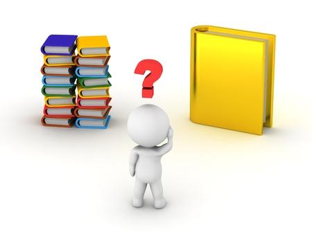 Ein 3D Kerl Wahl zwischen Stapel von kleinen bunten B�cher und eine gro�e goldene Buch Lizenzfreie Bilder
