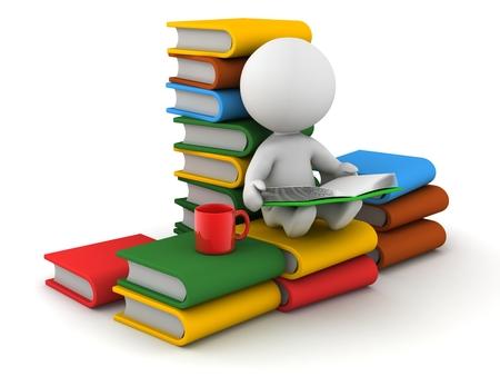 いくつかの書籍のスタックに快適に座って、読書と赤のカップ彼の側で 3 D の男
