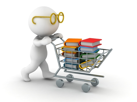 A 3d guy wearing glasses pushing a shopping cart filled with books photo