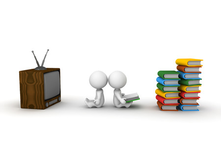 Two 3D guys  One watching TV and the other reading a book, with stacks of books in front of him Stock Photo